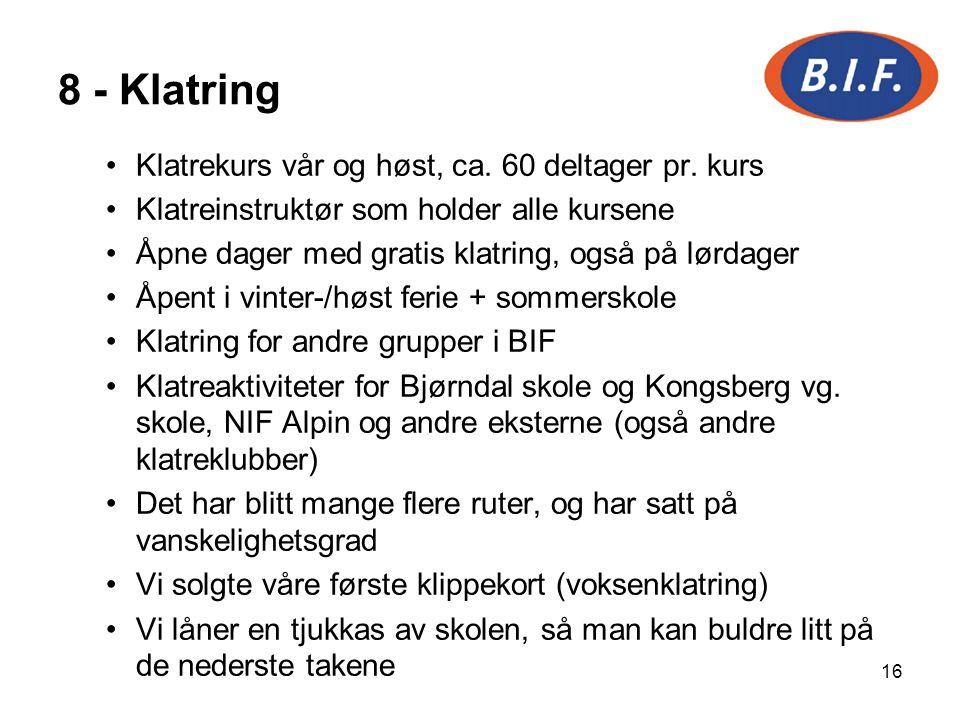8 - Klatring Klatrekurs vår og høst, ca. 60 deltager pr. kurs