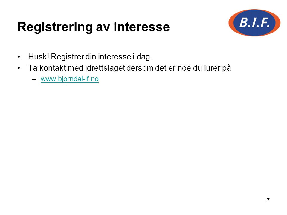 Registrering av interesse