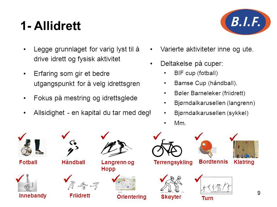 1- Allidrett Legge grunnlaget for varig lyst til å drive idrett og fysisk aktivitet. Erfaring som gir et bedre utgangspunkt for å velg idrettsgren.