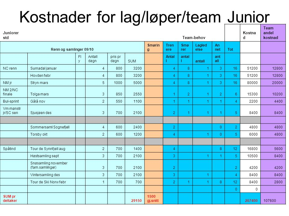 Kostnader for lag/løper/team Junior