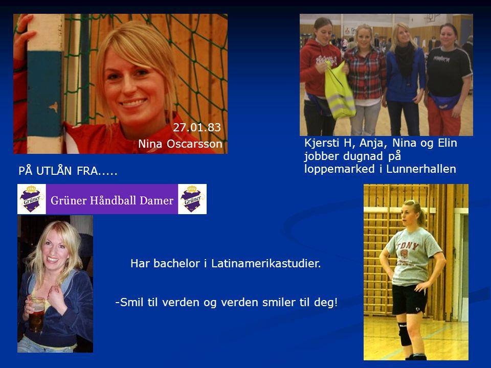 27.01.83 Nina Oscarsson. Kjersti H, Anja, Nina og Elin. jobber dugnad på. loppemarked i Lunnerhallen.