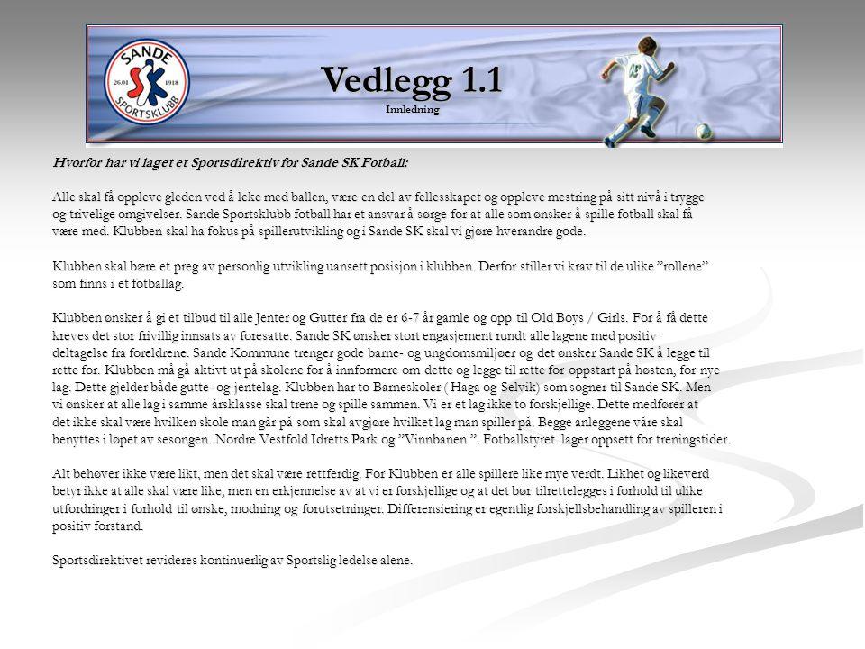 Vedlegg 1.1 Innledning Hvorfor har vi laget et Sportsdirektiv for Sande SK Fotball: