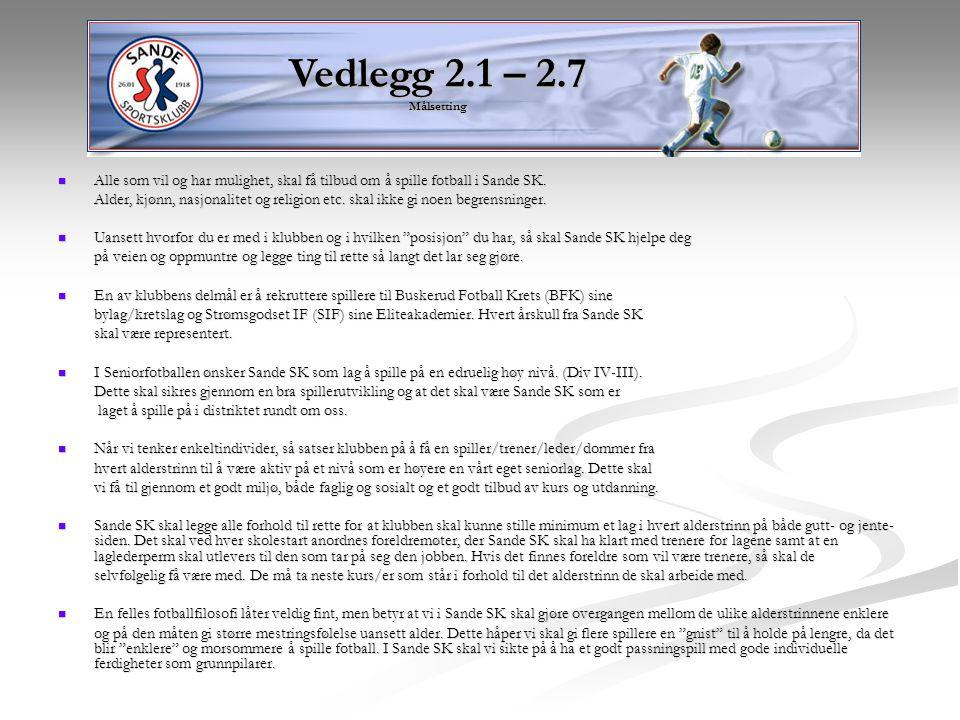 Vedlegg 2.1 – 2.7 Målsetting Alle som vil og har mulighet, skal få tilbud om å spille fotball i Sande SK.