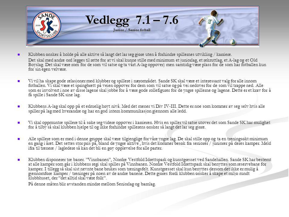 Vedlegg 7.1 – 7.6 Junior / Senior fotball