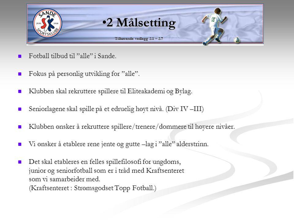 2 Målsetting Fotball tilbud til alle i Sande.