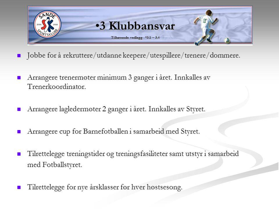 3 Klubbansvar Tilhørende vedlegg *3.1 – 3.4. Jobbe for å rekruttere/utdanne keepere/utespillere/trenere/dommere.