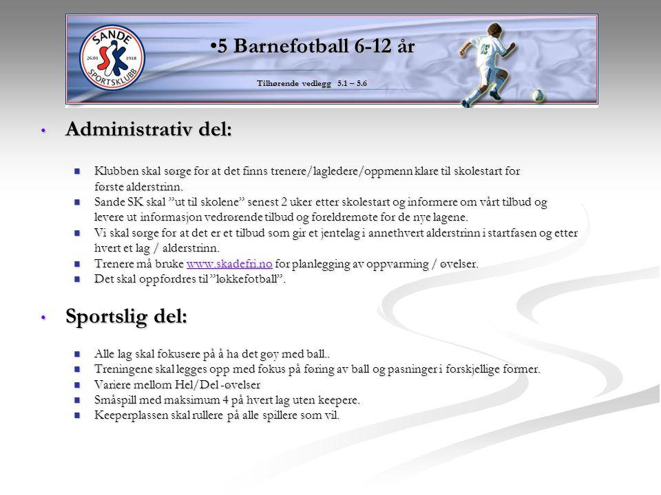5 Barnefotball 6-12 år Administrativ del: Sportslig del: