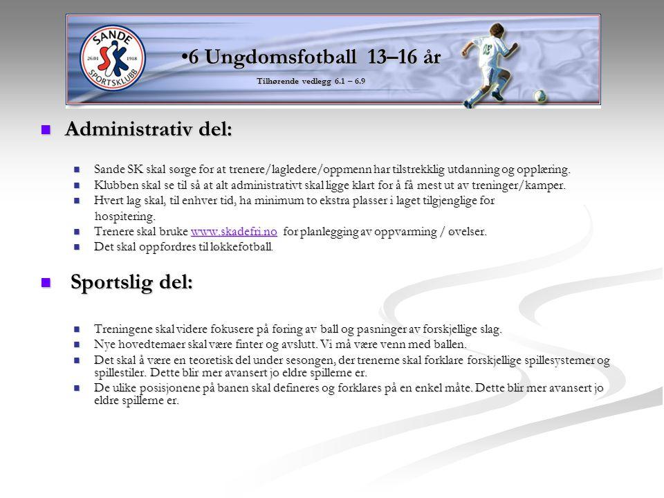 6 Ungdomsfotball 13–16 år Administrativ del: Sportslig del: