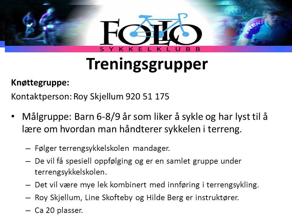Treningsgrupper Knøttegruppe: Kontaktperson: Roy Skjellum 920 51 175.