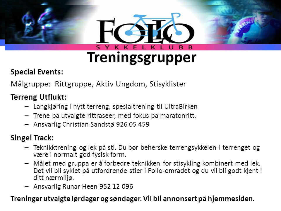 Treningsgrupper Special Events: