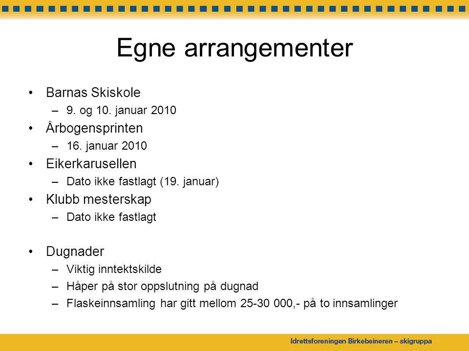 Egne arrangementer Barnas Skiskole Årbogensprinten Eikerkarusellen
