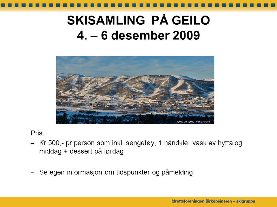 SKISAMLING PÅ GEILO 4. – 6 desember 2009