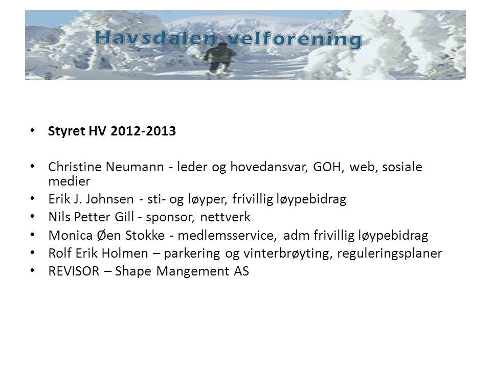 Styret HV 2012-2013 Christine Neumann - leder og hovedansvar, GOH, web, sosiale medier. Erik J. Johnsen - sti- og løyper, frivillig løypebidrag.