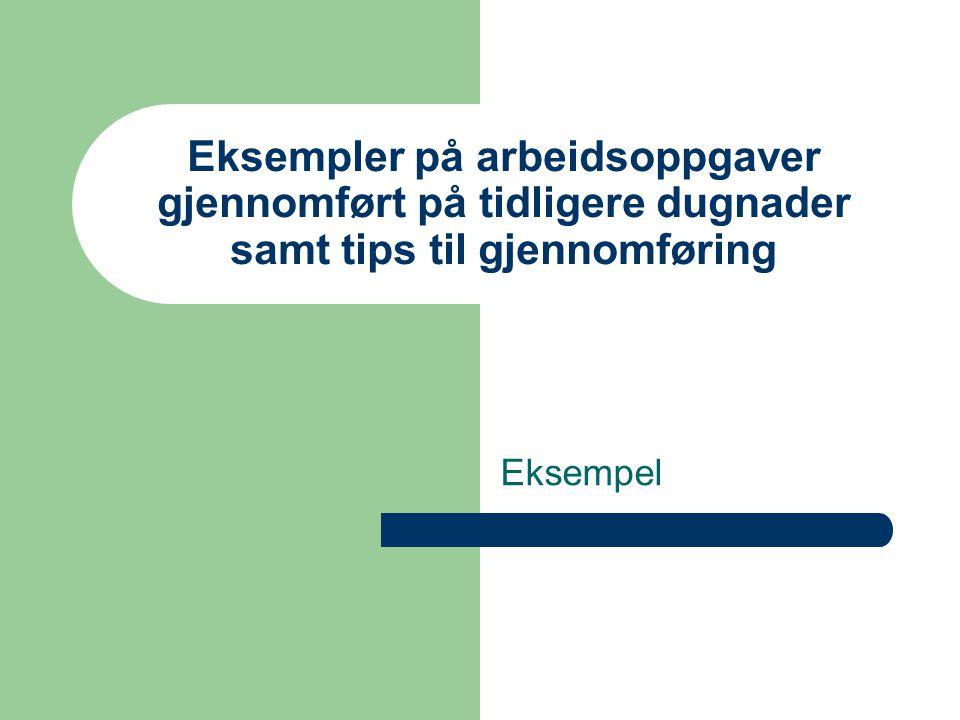 Eksempler på arbeidsoppgaver gjennomført på tidligere dugnader samt tips til gjennomføring
