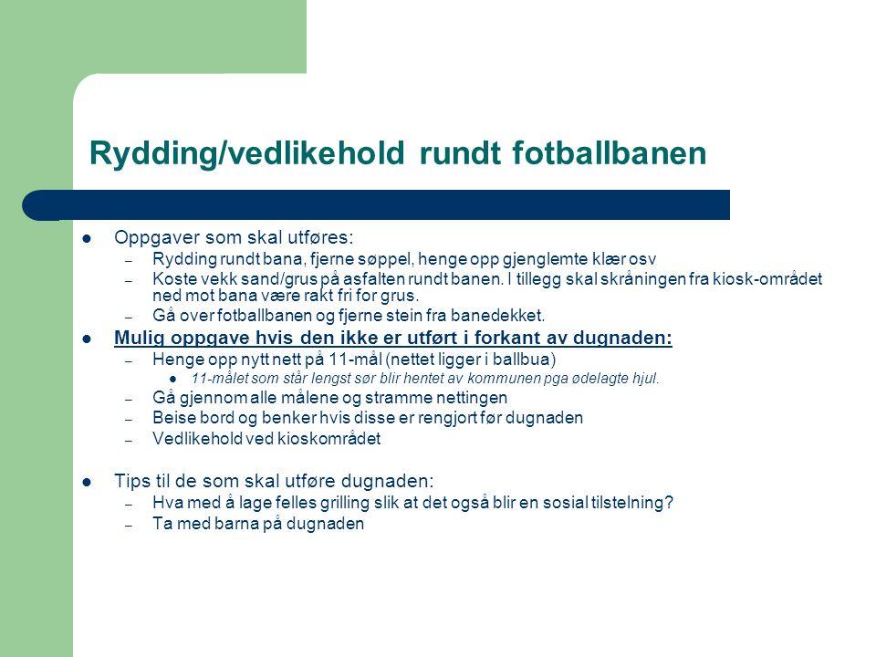 Rydding/vedlikehold rundt fotballbanen