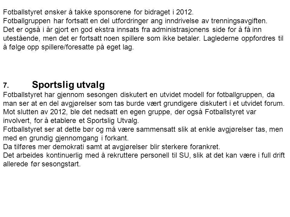Fotballstyret ønsker å takke sponsorene for bidraget i 2012.