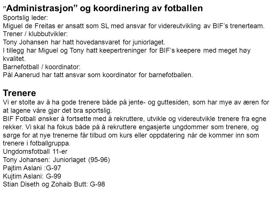 Trenere Administrasjon og koordinering av fotballen Sportslig leder: