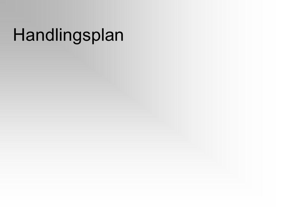 Handlingsplan Noter forslagene fra presentasjon av gruppearbeidet. Liste opp tiltakt og ansvarlige