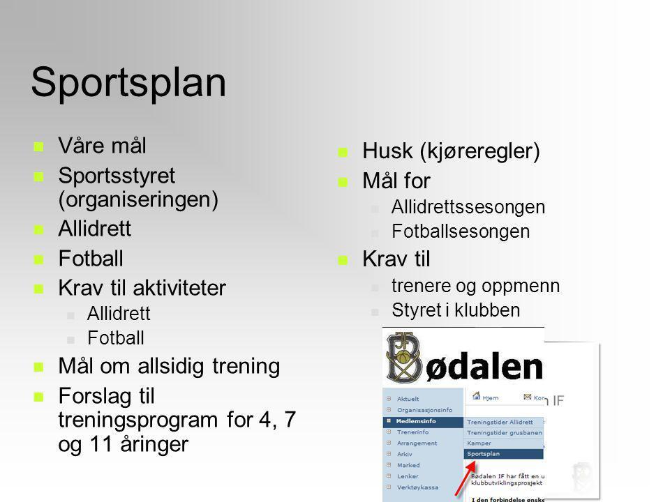 Sportsplan Våre mål Husk (kjøreregler) Sportsstyret (organiseringen)