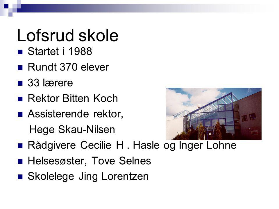 Lofsrud skole Startet i 1988 Rundt 370 elever 33 lærere