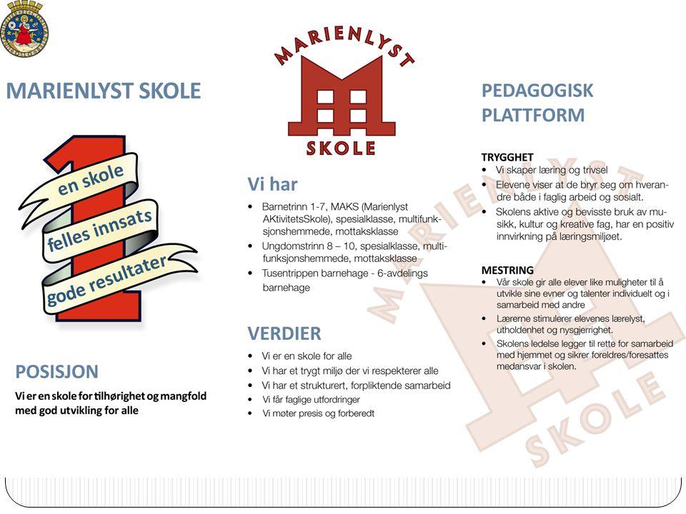 Skoleåret 2010/11 Pedagogisk plattform VISJON Én skole Felles innsats