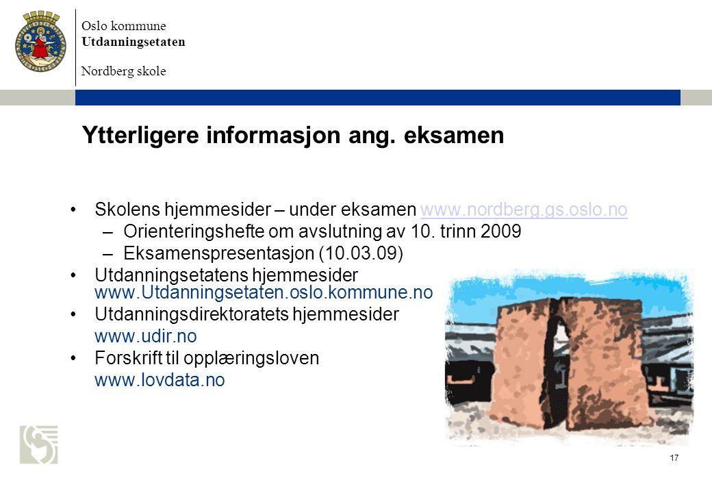 Ytterligere informasjon ang. eksamen