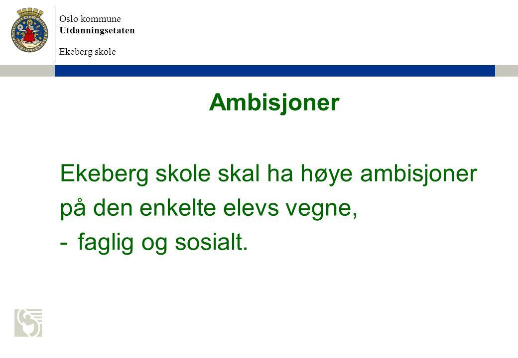 Ambisjoner Ekeberg skole skal ha høye ambisjoner på den enkelte elevs vegne, faglig og sosialt.