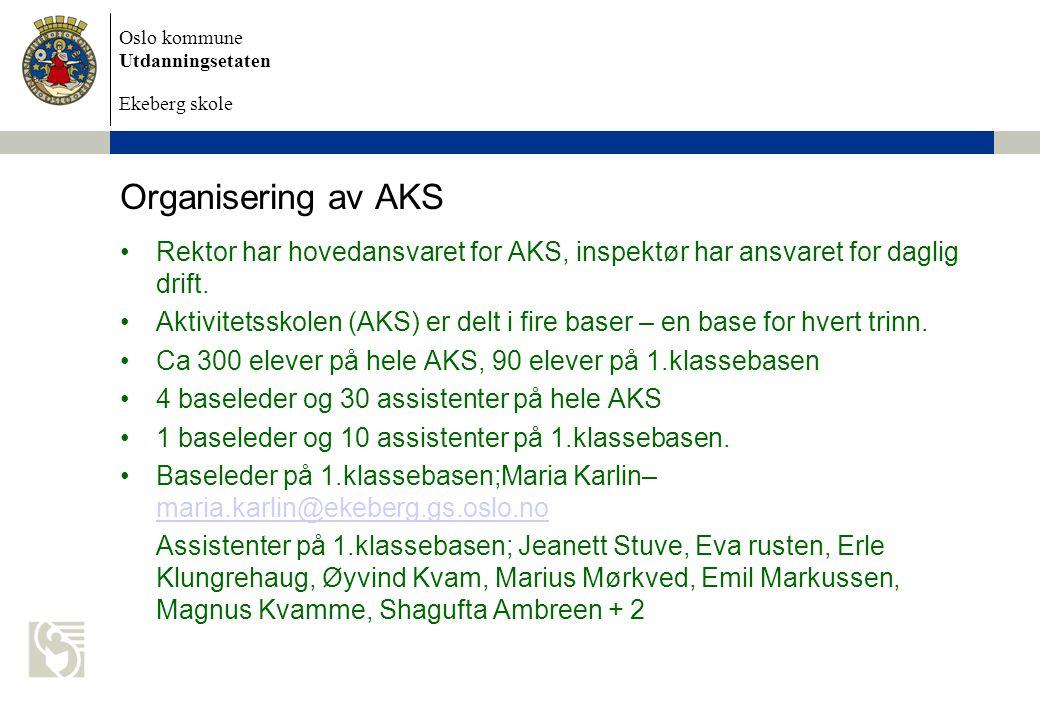 Organisering av AKS Rektor har hovedansvaret for AKS, inspektør har ansvaret for daglig drift.