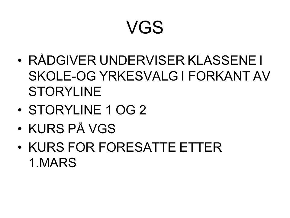 VGS RÅDGIVER UNDERVISER KLASSENE I SKOLE-OG YRKESVALG I FORKANT AV STORYLINE. STORYLINE 1 OG 2. KURS PÅ VGS.