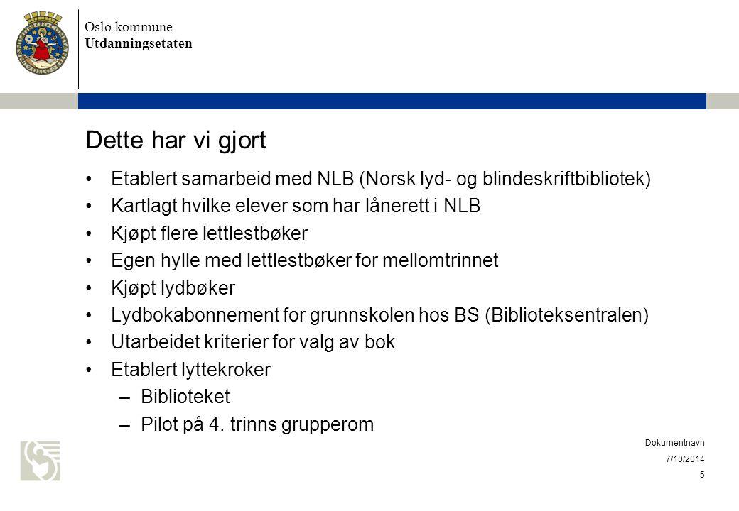 Dette har vi gjort Etablert samarbeid med NLB (Norsk lyd- og blindeskriftbibliotek) Kartlagt hvilke elever som har lånerett i NLB.