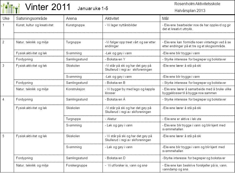 Vinter 2011 Januar uke 1-5 Rosenholm Aktivitetsskole Halvårsplan 2013