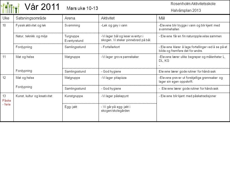 Vår 2011 Mars uke 10-13 Rosenholm Aktivitetsskole Halvårsplan 2013 Uke