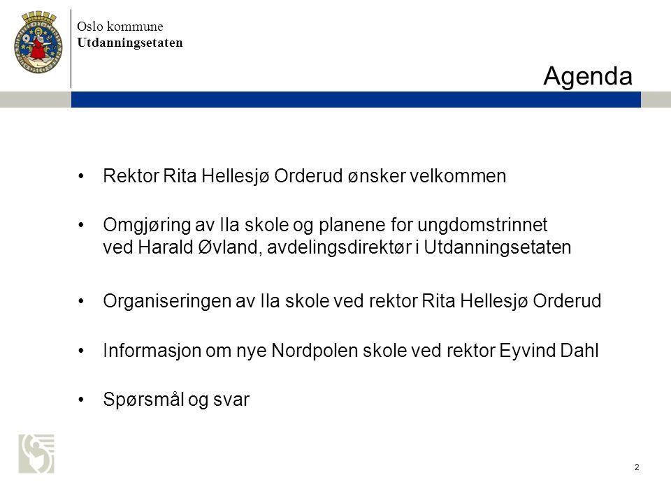 Agenda Rektor Rita Hellesjø Orderud ønsker velkommen