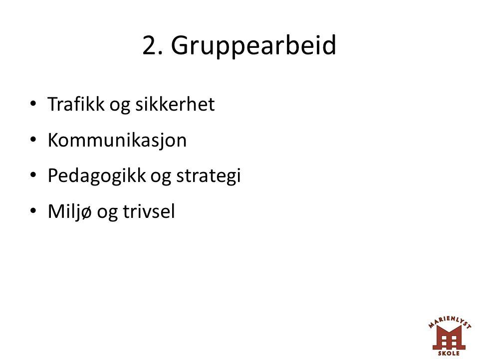 2. Gruppearbeid Trafikk og sikkerhet Kommunikasjon