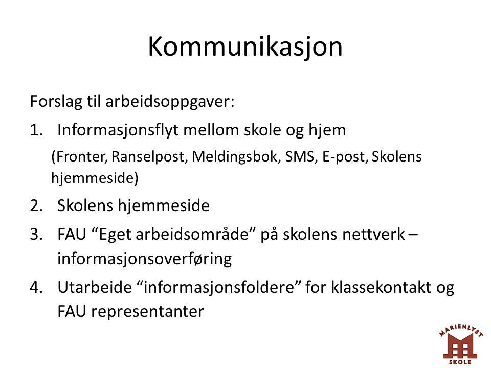 Kommunikasjon Forslag til arbeidsoppgaver:
