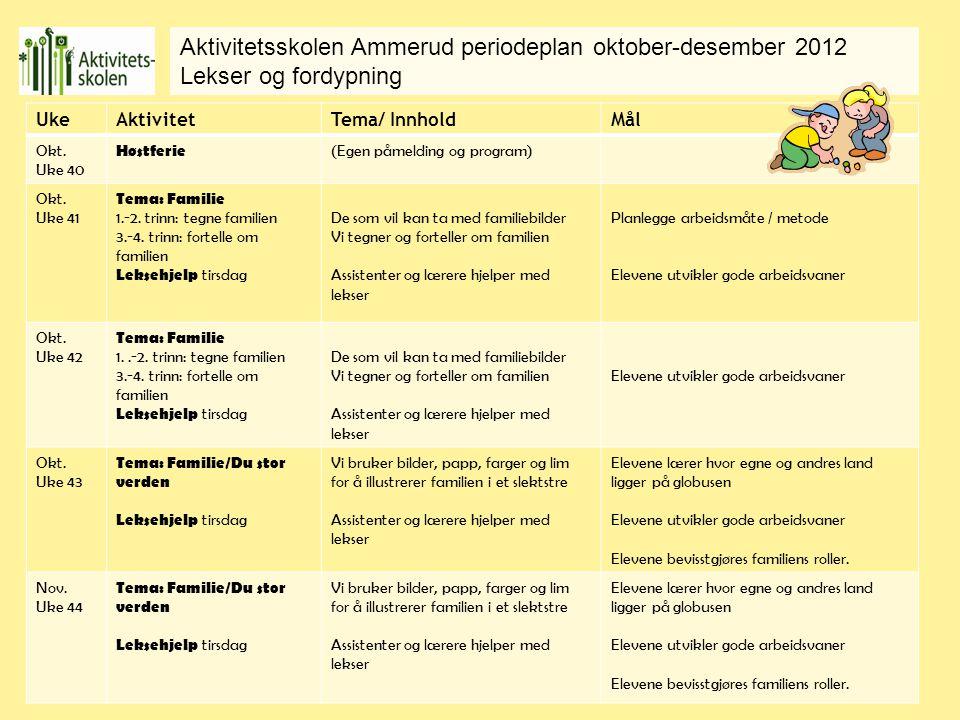 Aktivitetsskolen Ammerud periodeplan oktober-desember 2012