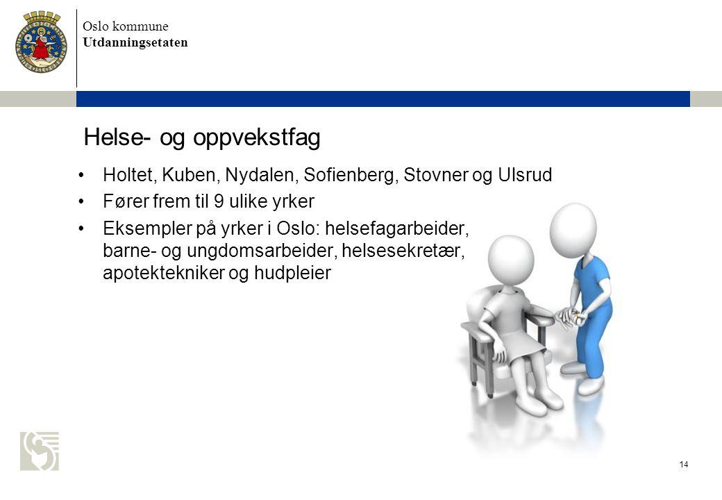Helse- og oppvekstfag Holtet, Kuben, Nydalen, Sofienberg, Stovner og Ulsrud. Fører frem til 9 ulike yrker.