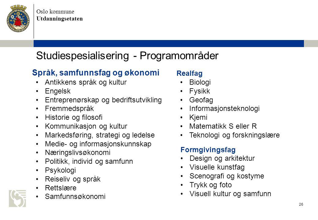 Studiespesialisering - Programområder