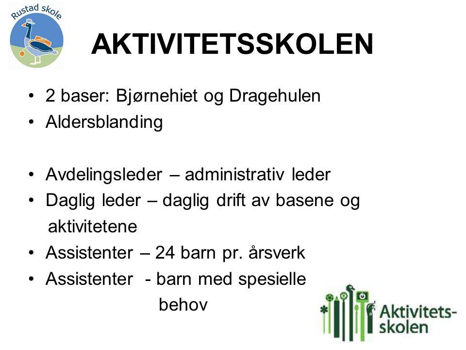 AKTIVITETSSKOLEN 2 baser: Bjørnehiet og Dragehulen Aldersblanding