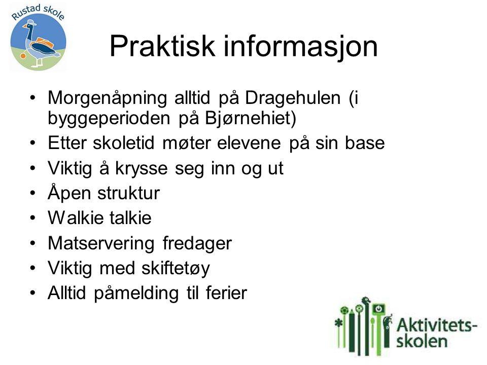 Praktisk informasjon Morgenåpning alltid på Dragehulen (i byggeperioden på Bjørnehiet) Etter skoletid møter elevene på sin base.