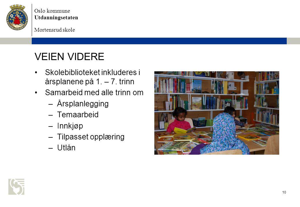 VEIEN VIDERE Skolebiblioteket inkluderes i årsplanene på 1. – 7. trinn