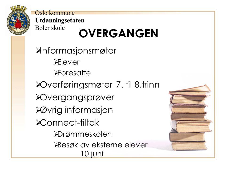 OVERGANGEN Informasjonsmøter Overføringsmøter 7. til 8.trinn