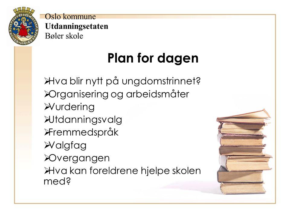 Plan for dagen Hva blir nytt på ungdomstrinnet