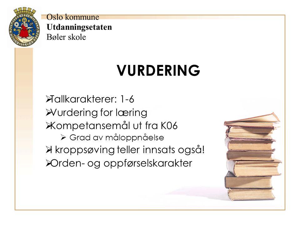VURDERING Tallkarakterer: 1-6 Vurdering for læring