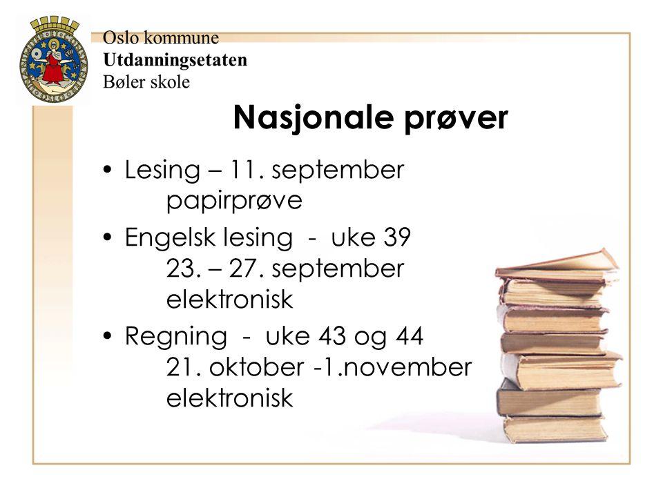Nasjonale prøver Lesing – 11. september papirprøve