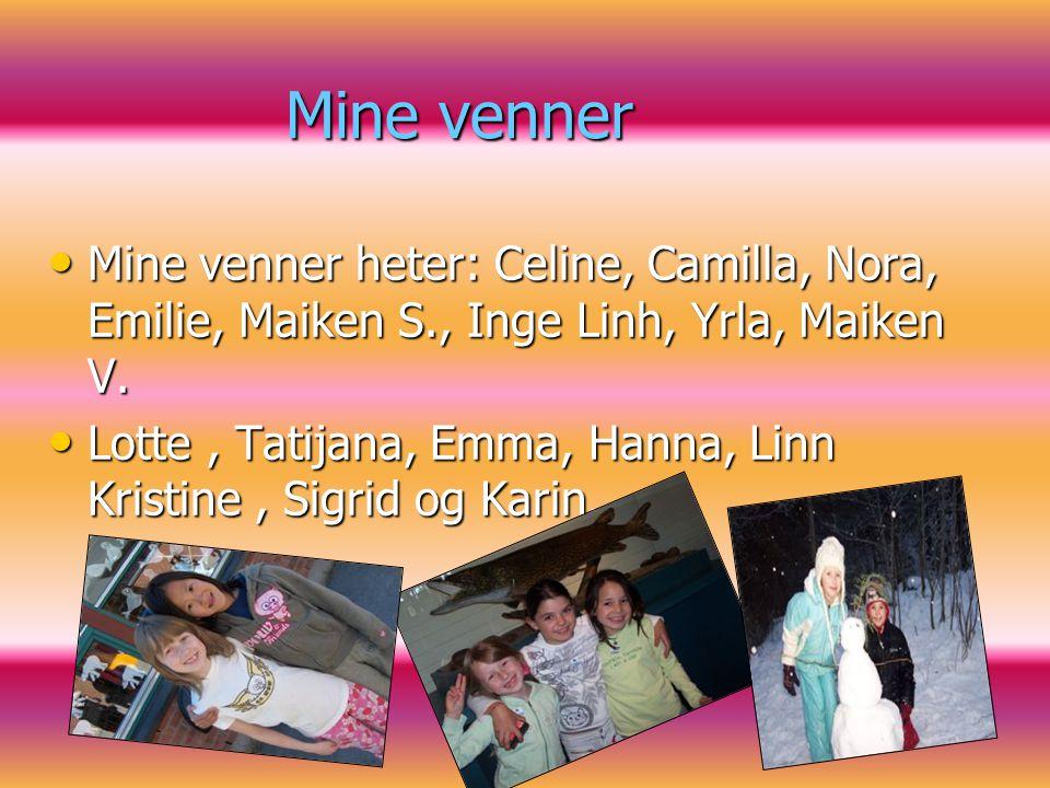 Mine venner Mine venner heter: Celine, Camilla, Nora, Emilie, Maiken S., Inge Linh, Yrla, Maiken V.