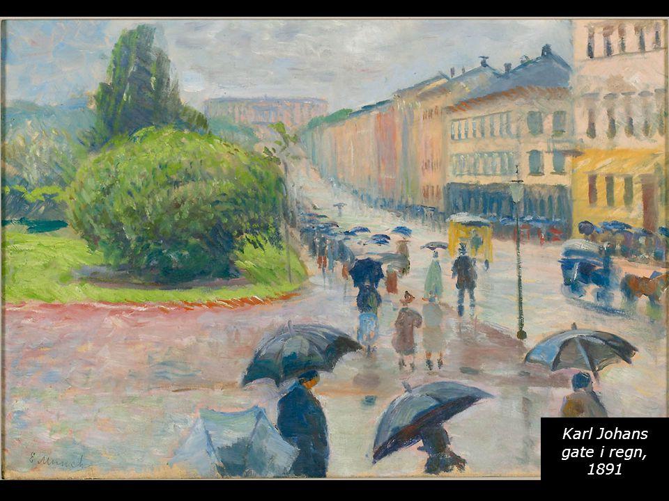 Karl Johans gate i regn, 1891
