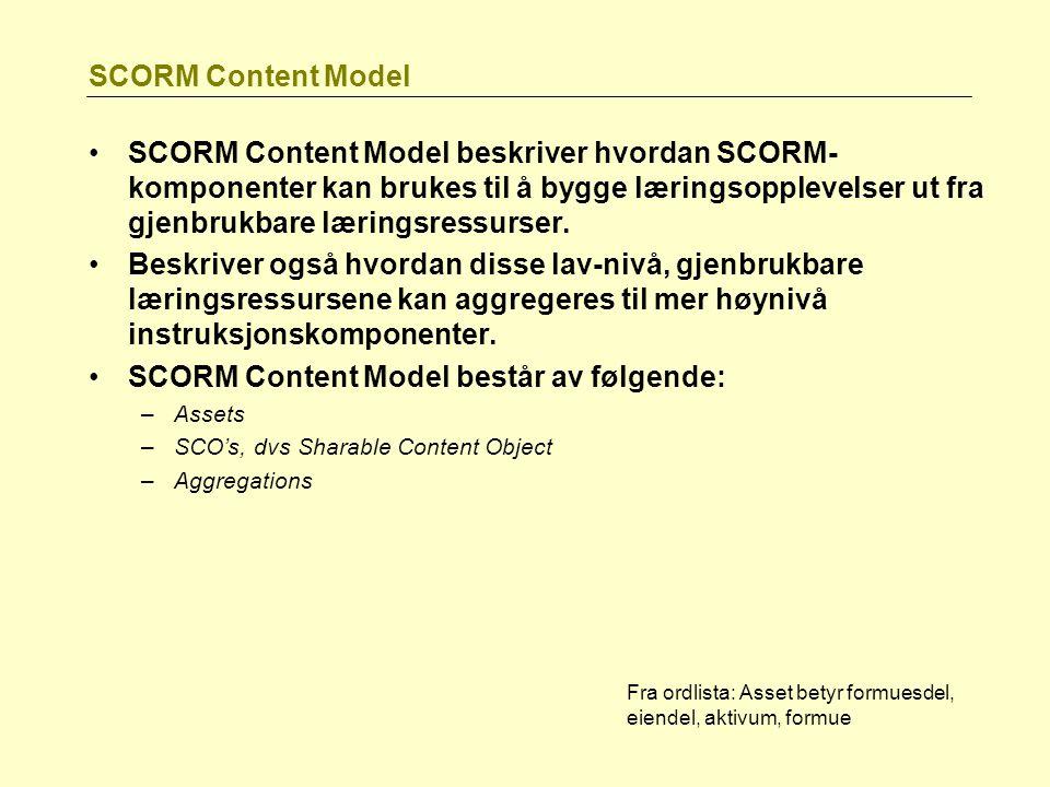 SCORM Content Model består av følgende: