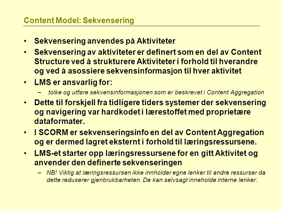 Content Model: Sekvensering