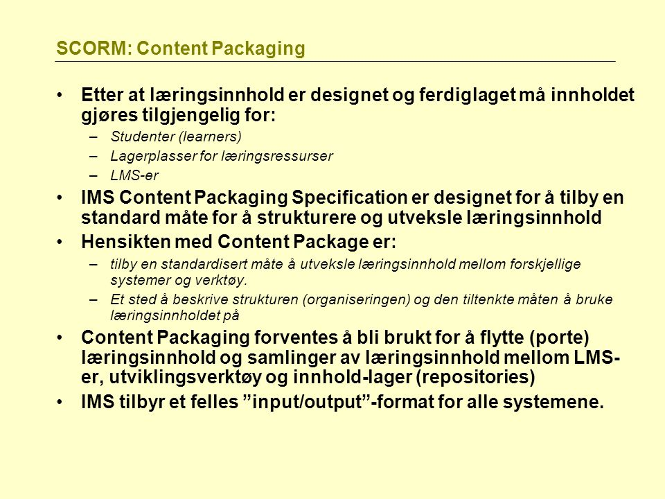 SCORM: Content Packaging